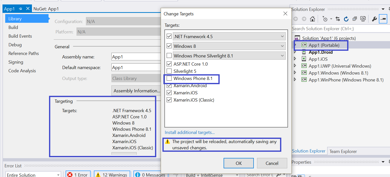 Installing ADAL NuGet package for Portable Xamarin project causes an error
